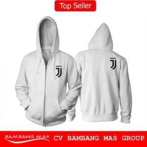 Jaket Hoodie Fleece Resleting - Jaket Juventus