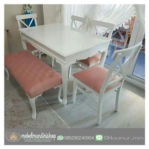 Set Kursi Makan Silang Minimalis Pink (furniture jepara, mebel jepara)