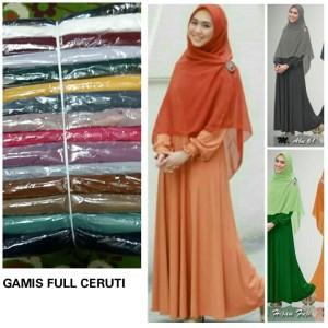 Gamis Dress Ceruty Ceruti Layer Polos Cantik Murah Syari Promo Sale