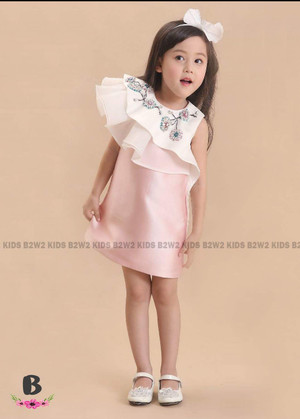 DRESS ANAK B2W2 CHEERS SATIN PINK WHITE