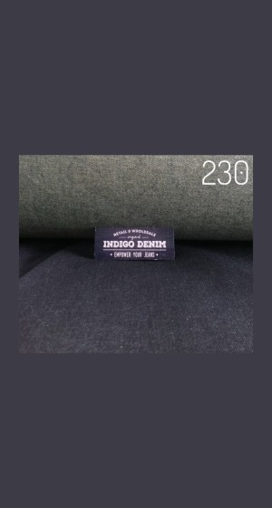 230 - Jual Bahan Jeans / Denim Blue Black Strech Non Washed Tebal 10oz