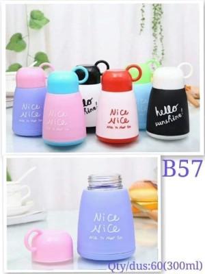 P-180001007 Botol Minum Kaca Unik Lucu Warna Tutup Cup NICE 300 B57 - Random