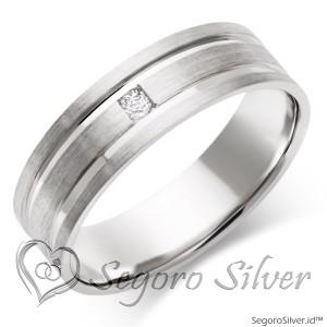 Cincin Perak Original 2 Line Diamond Plus
