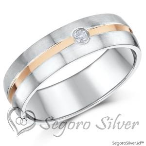 Cincin Tunangan Perak Gold Midle Diamond