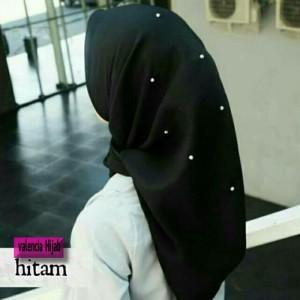 Hijab segiempat/Jilbab/kerudung Rawis Mutiara VALENCIA ( BLACK EDITI
