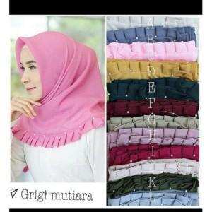 Hijab segiempat/Jilbab/kerudung Grigi Mutiara Polos VALENCIA