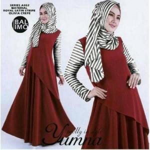 Setelan hijab yumna maroon ) maxi +pashmina )