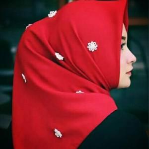 Hijab/kerudung/jilbab segiempat jasmine pearl Red edition