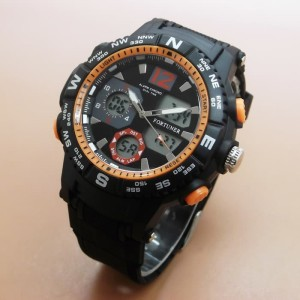 JAM TANGAN PRIA FORTUNER ORIGINAL TAHAN AIR BLACK ORANGE