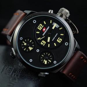 Jam Tangan Pria Swiss-Army-Tripletime-Kulit-Dark-Brown