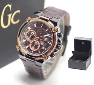 JAM TANGAN PRIA GC KULIT CHRONO ACTIVE BROWN BLACK ROSEGOLDD