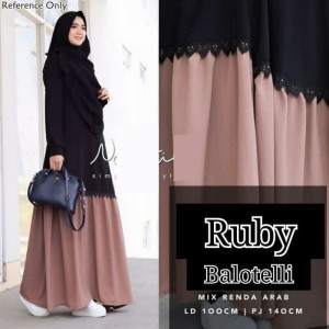 Gamis Perempuan - Ruby Maxy Dress Bahan Balotelly Renda Tidak Panas