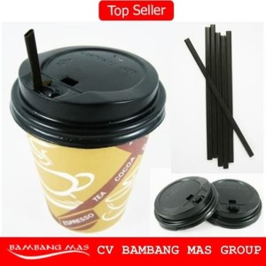Paper Cup Coffee 1 Set [Paper Cup 8oz+ Tutup + Sedotan] 50 pcs