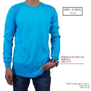 Kaos Polos Lengan Panjang Biru Turkis 100% Cotton Combed 30s Reaktif