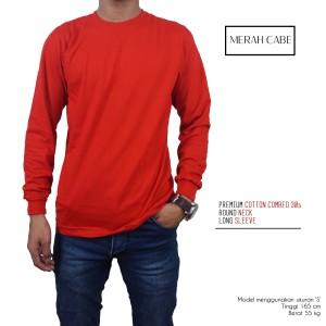 Kaos Polos Lengan Panjang Merah Cabe 100% Cotton Combed 30s Reaktif