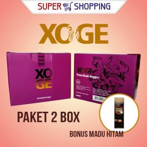 PAKET 2 Box XOGE Sari Buah Anggur + Bonus 1 botol Madu Hitam