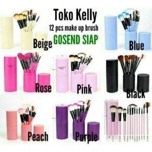 [ bisa COD ] Import LENGKAP 12 Pcs Kuas Kosmetik Make up TABUNG makeup