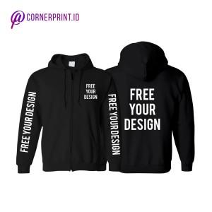 Jual Sweater Zipper Sablon Satuan Desain Custom Babyterry Hitam L Kota Tangerang Selatan Cornerprint Id Tokopedia
