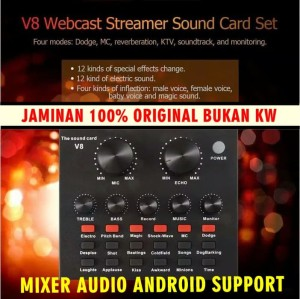 Mixer Audio Android V8 USB Headset Microphone Webcast Live Sound Card