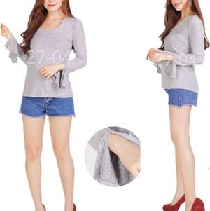 Kaos Lengan Panjang Wanita Grey Sonoma Pakaian Branded Original Murah