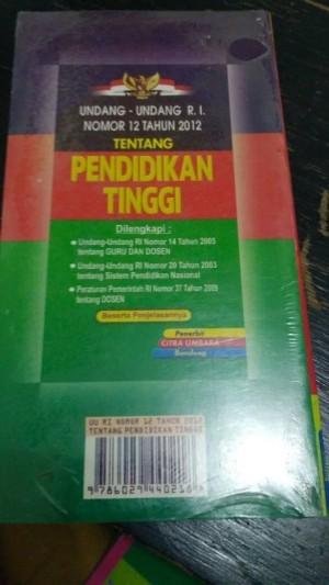 Jual Baru Buku Undang Undang Ri Nomor 12 Tahun 2012 Tentang Pendidikan Jakarta Selatan Embuh Kuswandari Tokopedia