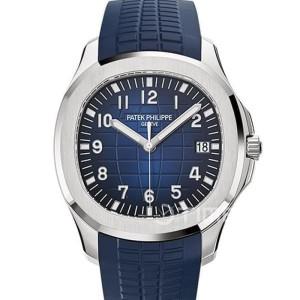 Patek Philippe Aquanaut Jumbo Swiss Clone 1:1 Silver Bezel Blue Dial