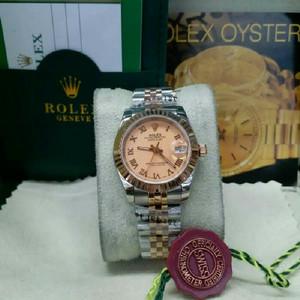 Rolex Oyster Datejust Combi Rosegold Romawi For Ladies Swiss Eta 1:1