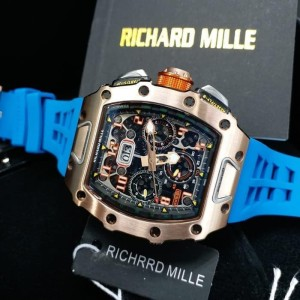 jam tangan ricard mille 011-03 Rose gold strap blue