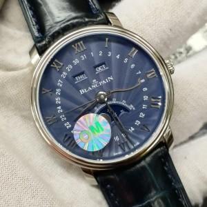 Blancpain Villeret Swiss Clone 1.1 Moonphase & Calendar Blue Dial