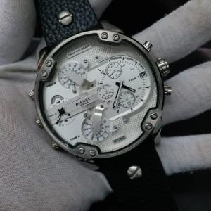 Jam Tangan Pria Mewah Diesel DZ7313 DZ 7313 Silver Black Leather