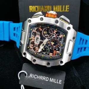 jam tangan ricard mille 011-03 silver blue