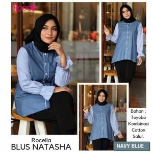 [XXL-3XL] Rocella Blus Natasha Blouse Wanita Trendy - Navy Blue