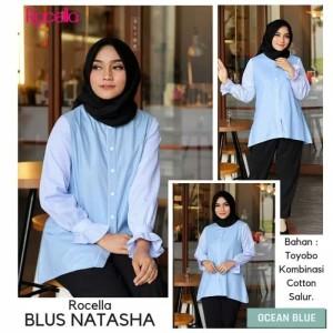 [S-XL] Promo Rocella Blus Natasha Atasan Muslimah Cantik - Ocean Blue