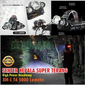 Senter Kepala T6 High Power Headlamp Cree XM-L T6 5000 Lumens