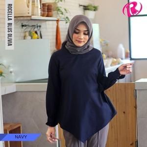 [S-XL] Promo Rocella Blus Olivia Atasan Muslimah Cantik - Navy