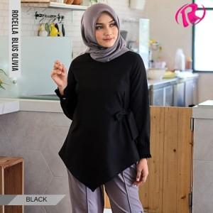 [S-XL] Promo Rocella Blus Olivia Atasan Muslimah Cantik - Black