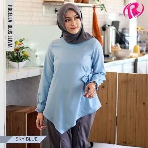 [S-XL] Promo Rocella Blus Olivia Atasan Muslimah Cantik - Sky Blue