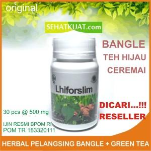 Obat Pelangsing Alami Bangle Green Tea Ceremai Lhiforslim Ijin BPOM RI