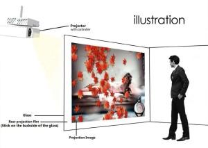 Kaca film proyeksi - Activads Rear Projection Film - Black / Grey
