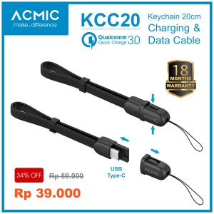 ACMIC KCC20 Kabel Data Charger 20cm USB Type C Fast Charging Cable - Hitam