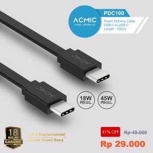 ACMIC PDC100 Power Delivery (PD) 100cm Cable USB Type C to USB Type C - Hitam