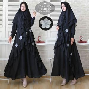 Baju Busana Muslim Gamis Wanita Terbaru Syari Ceruty Harika