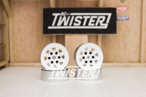 RC4WD Stamped Steel 1.55 inch Stock White Beadlock Wheels 4Pcs