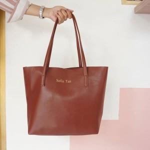 Terbaru Initial Micha Totebag Tas Fashion Wanita Custom - Brown