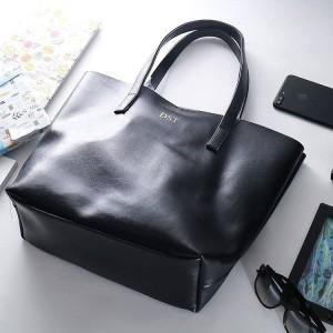 Terbaru Initial Micha Totebag Tas Fashion Wanita Custom - Black