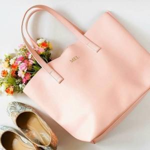 Terbaru Initial Micha Totebag Tas Fashion Wanita Custom - Pink
