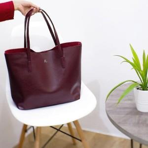 Terbaru Initial Micha Totebag Tas Fashion Wanita Custom - Burgundy