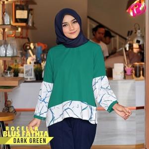 [S-XL] Original Rocella Blus Fathia Atasan Muslimah - Dark Green