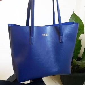 Terbaru Initial Micha Totebag Tas Fashion Wanita Custom - Navy