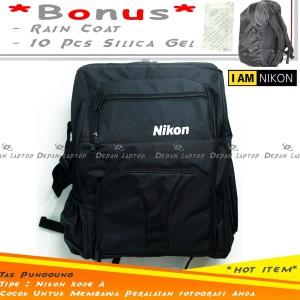 Tas Kamera Backpack Nikon Hitam DSLR Mirrorless Flash Lensa Tripod A